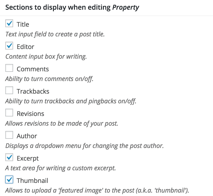 Custom post type options