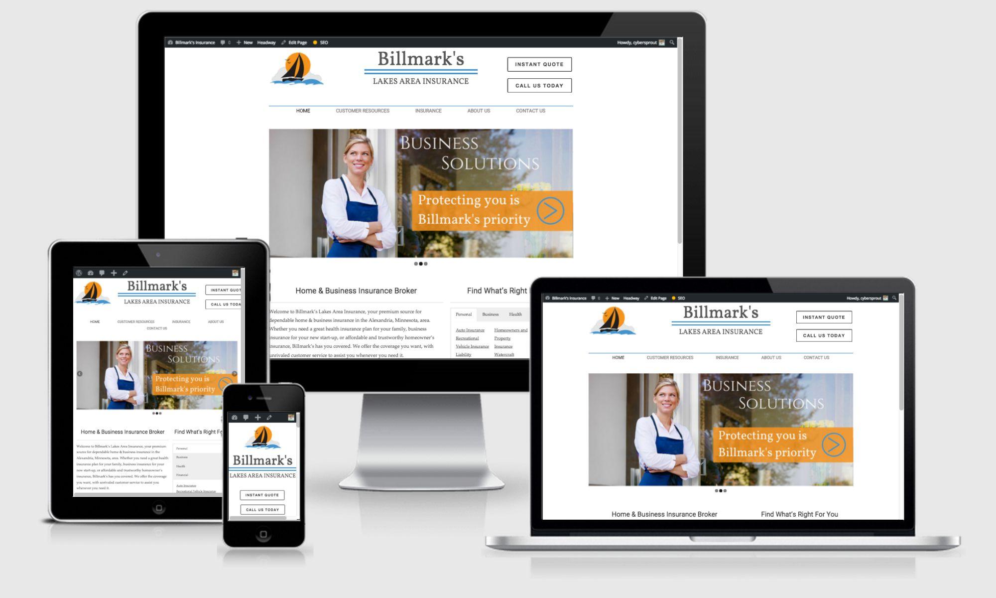 Billmark's website design screenshot