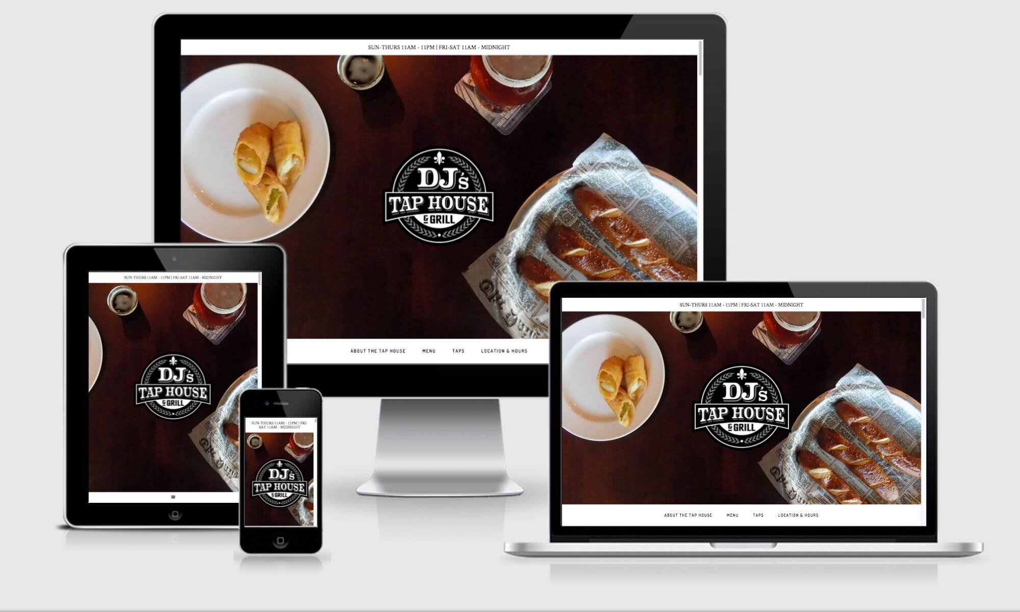 DJ's Tap House and Grill website design