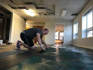 Brad doing flooring