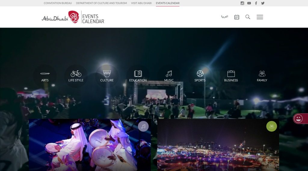 Abu Dhabi Events Website