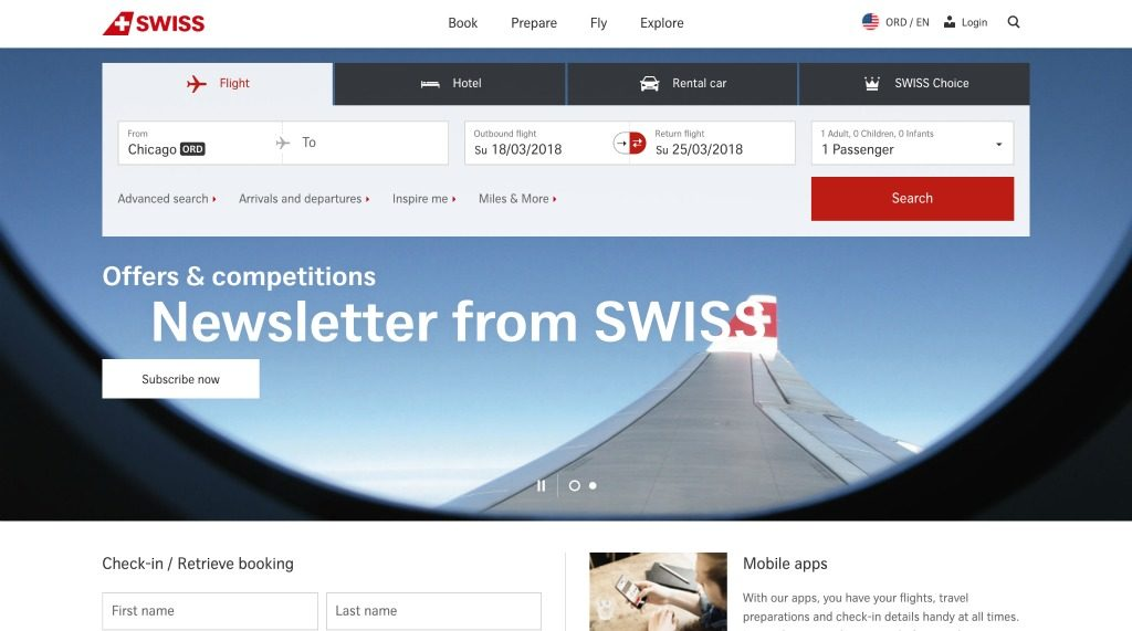 Swiss airlines website