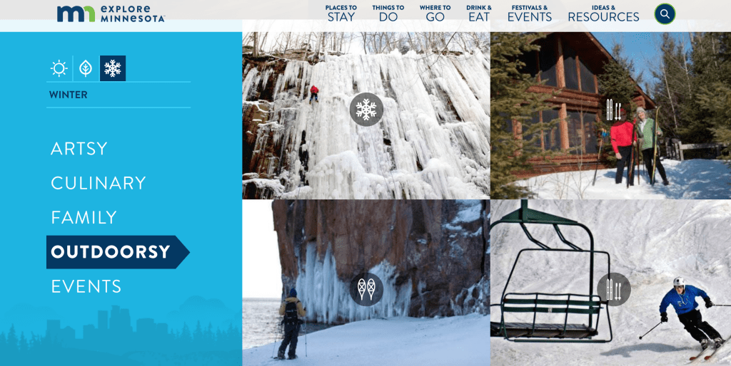 Explore Minnesota - Tourism Website Design Inspiration