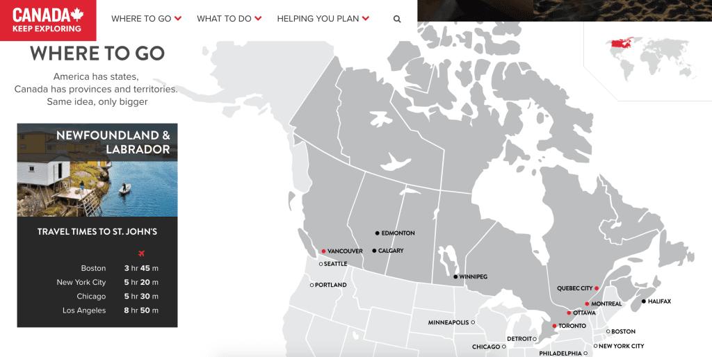 Destination Canada - Tourism Website Ideas
