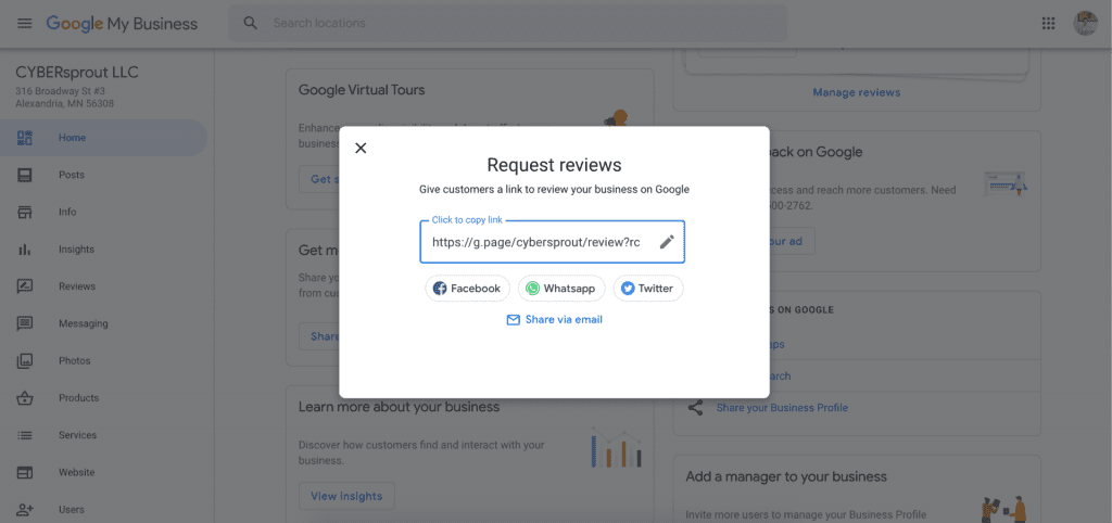 Google My Business review link