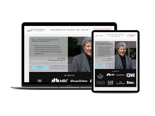The Purposeful Culture Group website on multiple devices