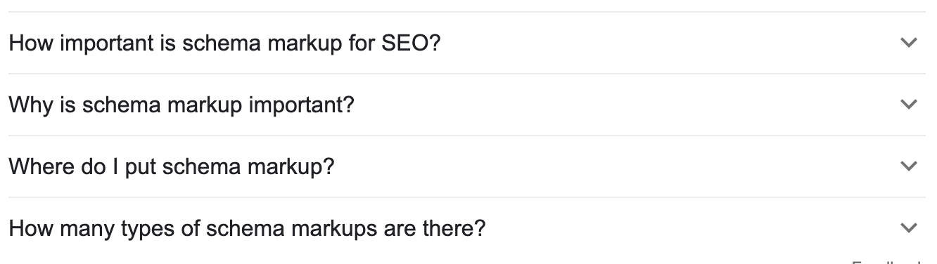 Screen shot of Google for question and answer schema content
