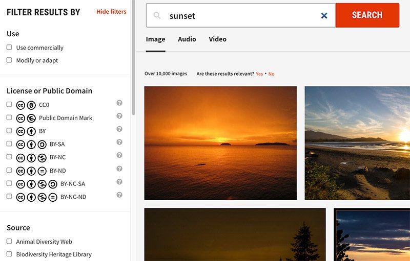 CC Search results screenshot