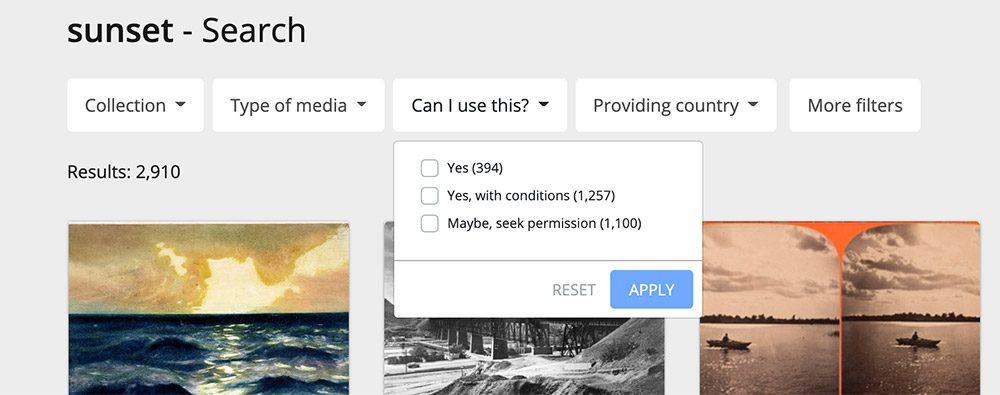 Europeana search filters screenshot