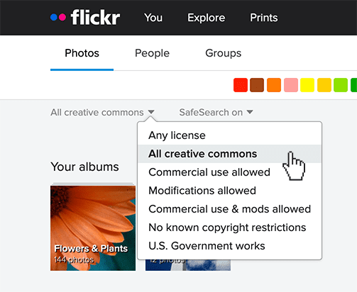 Flickr search Creative Commons filters