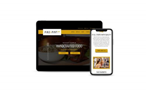Mock up of Pike and Pint website on multiple devices