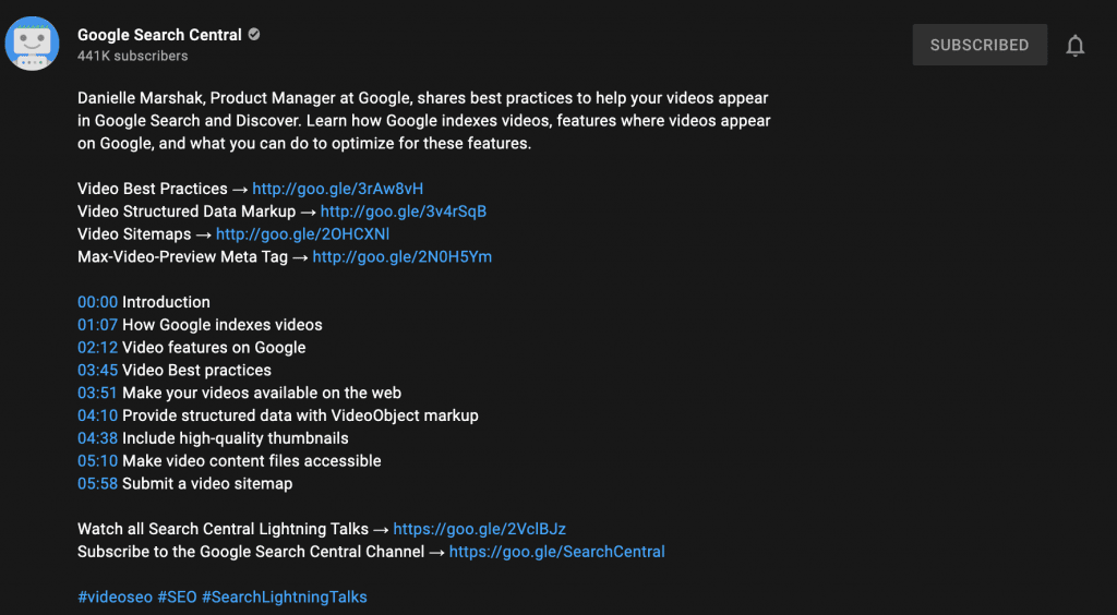 Example of a great YouTube video description