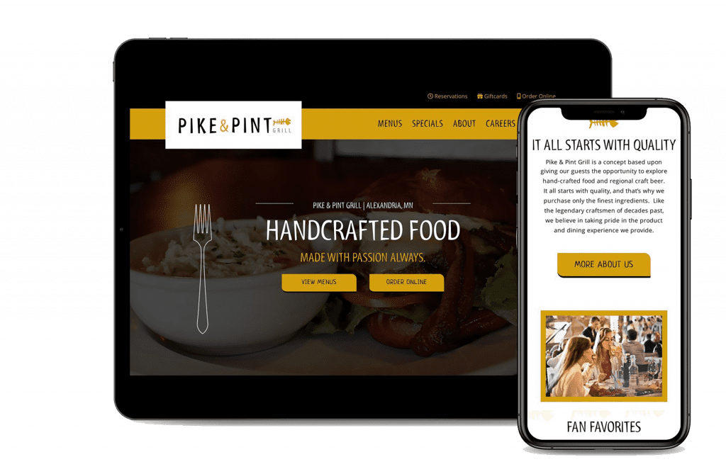 Pike and Pint website mockup