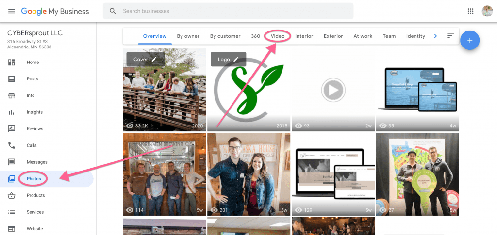 Where to add videos on a Google My Business page