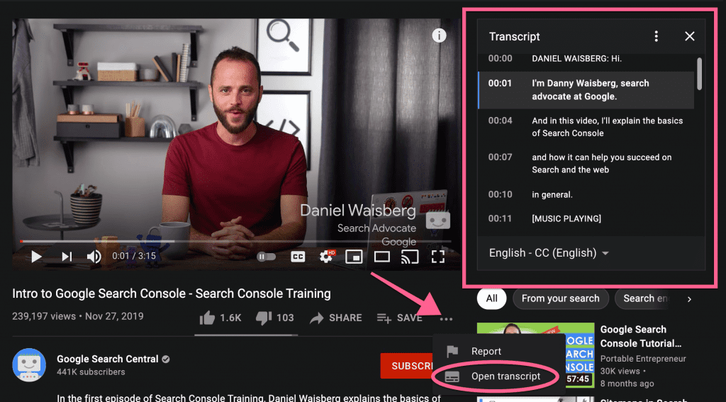 This is where to view your YouTube video transcripts
