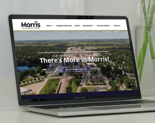 Morris Area Chamber of Commerce website displayed on a laptop