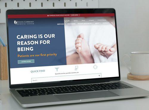Stevens Community Medical Center website displayed on a laptop
