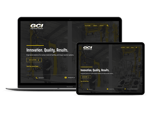 GCI Engineered Solutions website displayed on a laptop and tablet