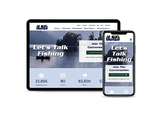 Lake State Fishing website displayed on a tablet and a smartphone